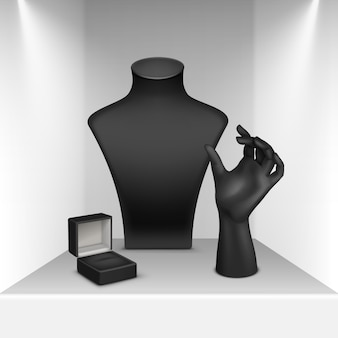 Set aus schwarzer halskette, armband und ringständer