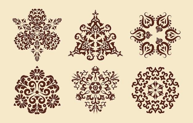 Set aus sechs mandalas-mustern mehndi-muster dekorative textur braunbeige farbe