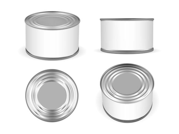Set aus silberner metalldose isoliert