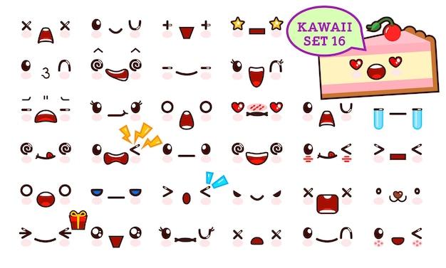 Set aus süßem kawaii-emoticon-gesicht und süßem stück kuchen kawaii