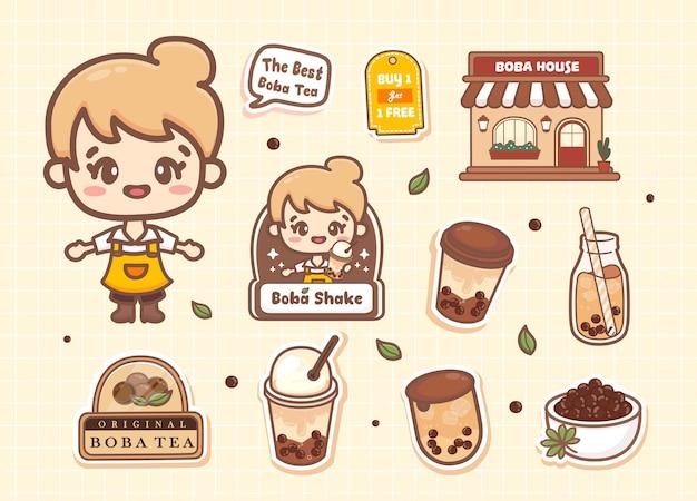 Set aus süßem mädchen bubble asiatischer milchtee mit tapioka-perlen-café und logo im kawaii-stil