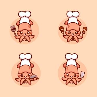 Set aus süßem tintenfisch-chef-charakter-maskottchen, das spachtel, takoyaki und messer hält. handgezeichneter cartoon-vektor.