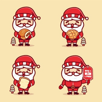 Set aus süßem weihnachtsmann, der brot, brötchen, melonenbrot und promo-texttafel hält, kaufen sie 1 erhalten 1