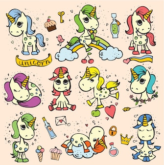 Set aus süßen, handgezeichneten doodle-magie-einhörnern und magischen dingen für kinder-grußkartendesign, t-shirt-druck, inspirationsplakat.