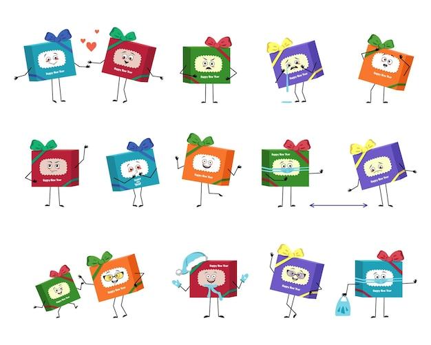 Set aus süßer charakter-geschenkbox für charakter mit emotionen, gesicht, armen und beinen, fröhlich oder traurig, festlich ...