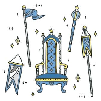 Set aus thron, königreich flagge und zepter