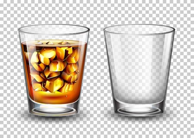 Set aus transparentem glas