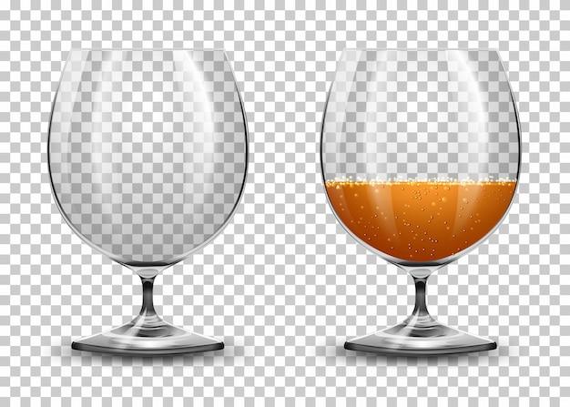 Set aus transparenten gläsern