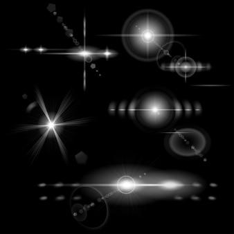Set aus transparenten monochromen lens flares in verschiedenen formen