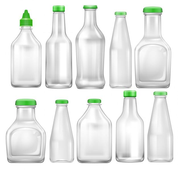 Set aus transparenter flasche