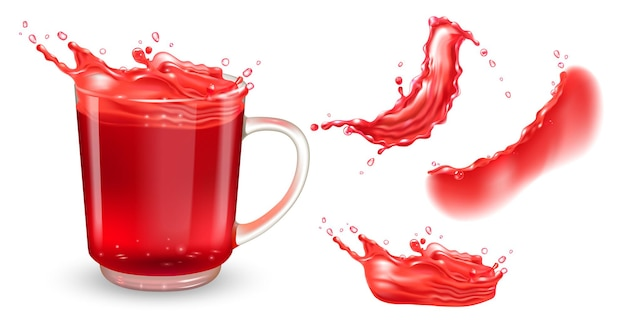 Set aus transparenter teetasse mit rotem hibiskustee und roten flüssigkeitsspritzern isoliert auf weißem hinterg...