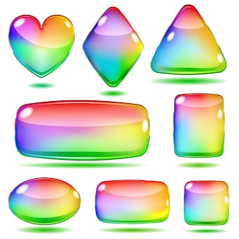 Set aus undurchsichtigen farbigen glasformen