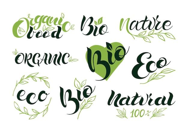 Set aus vegan, öko, bio, bio, frisch, gesund, 100 prozent, natürliche symbole. logo-schriftzug. vektorabbildung env 10.
