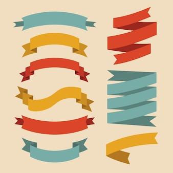 Set aus verschiedenen bändern im flachen stil.