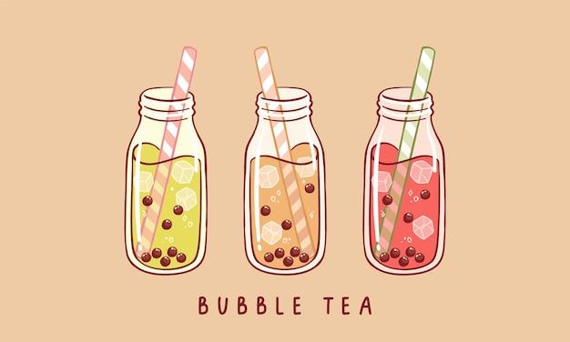 Set aus verschiedenen bubble tea milchtee mit tapioka-perlen boba tee asiatisches taiwanesisches getränk