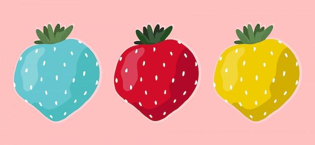 Set aus verschiedenen bunten erdbeeren