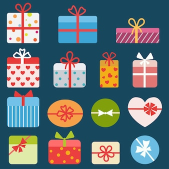 Set aus verschiedenen bunten geschenkboxen. eben
