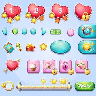 Set aus verschiedenen elementen, fortschrittsbalken, boostern, schaltflächen für computerspiele und webdesign zum thema valentinstag