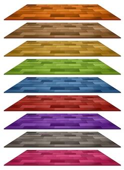 Set aus verschiedenen farbigen holzbodenfliesen isoliert auf weißem hintergrund