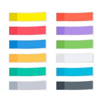 Set aus verschiedenen farbvorlagen haftnotizen, erinnerungen, lesezeichen mit schatten. papierklebeband mit schatten. mehrfarbiges papierklebeband, rechteckige leere bürorohlinge, erinnerungslisten.