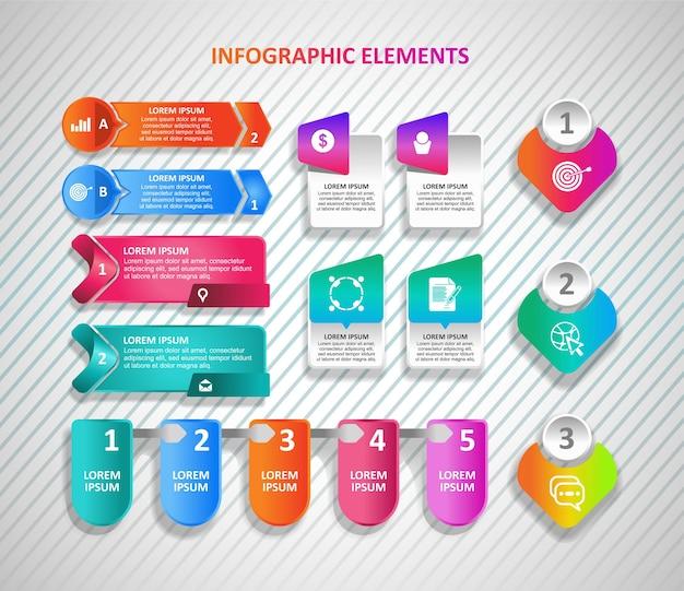 Set aus verschiedenen formen für infografik-elemente