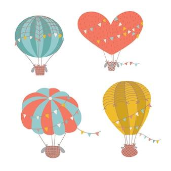 Set aus verschiedenen formen süße heißluftballonsammlung von isolierten flachen cartoon-luftballons mit t ...