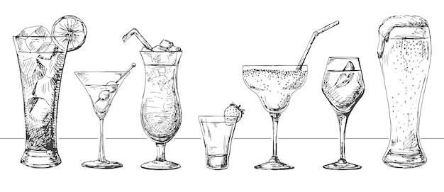 Set aus verschiedenen gläsern, verschiedenen cocktails. illustration eines skizzenstils.