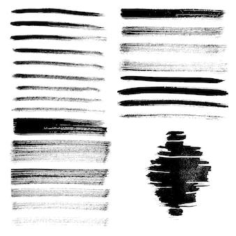 Set aus verschiedenen grunge-pinselstrichen und -flecken. vektor-illustration.