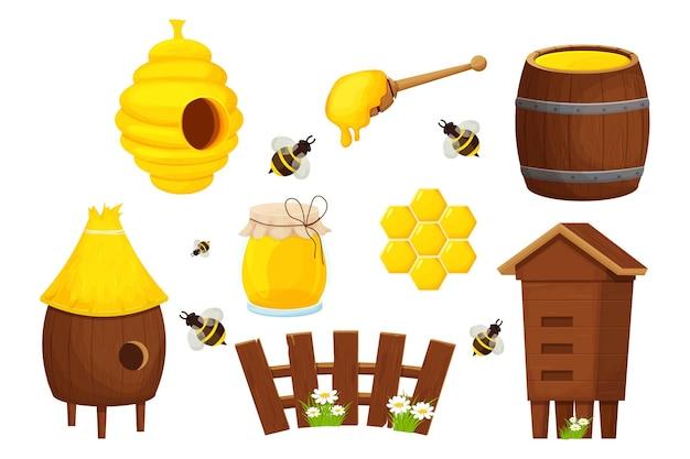 Set aus verschiedenen holzbienenstock niedlichen zaun honiglöffel fass und glas