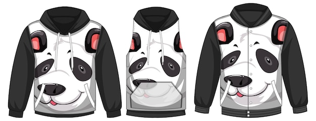 Set aus verschiedenen jacken mit panda-gesichtsschablone