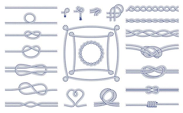 Set aus verschiedenen knoten und rahmenelementen