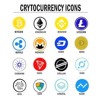 Set aus verschiedenen kryptowährungen und token-symbol