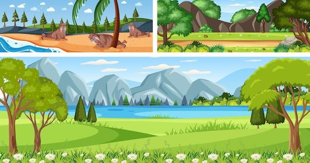 Set aus verschiedenen landschaftsszenen im freien mit zeichentrickfigur