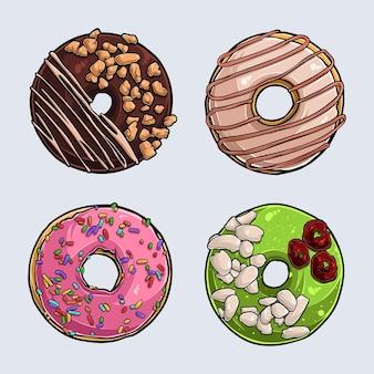Set aus verschiedenen leckeren donuts mit rosa zuckerguss, schokolade, pistazie und sahne