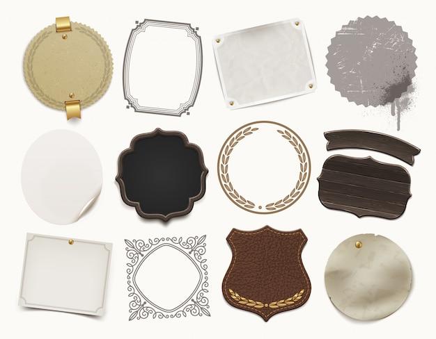 Set aus verschiedenen materialrahmen, bannern und etiketten. illustration.