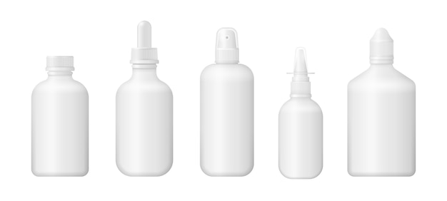 Set aus verschiedenen medizinischen flaschen für medikamente, pillen, tabletten und vitamine. medizinische leere box 3d. weißes kunststoffverpackungsdesign. fotorealistische verpackungsmodellvorlage.