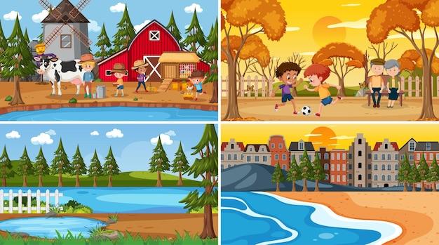 Set aus verschiedenen naturszenen cartoon-stil