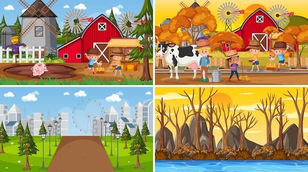 Set aus verschiedenen naturszenen hintergrund im cartoon-stil