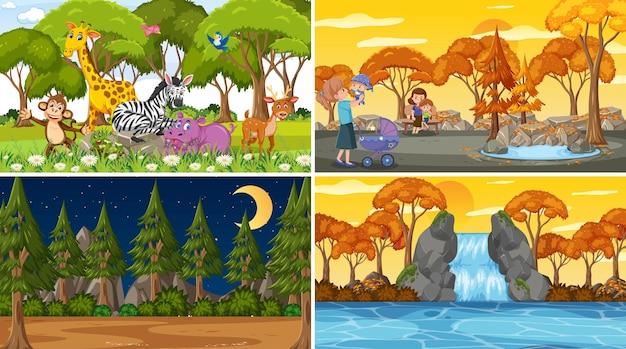 Set aus verschiedenen naturszenen hintergrund mit menschen