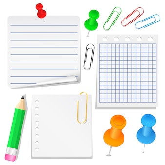 Set aus verschiedenen papieren, stecknadeln und clips
