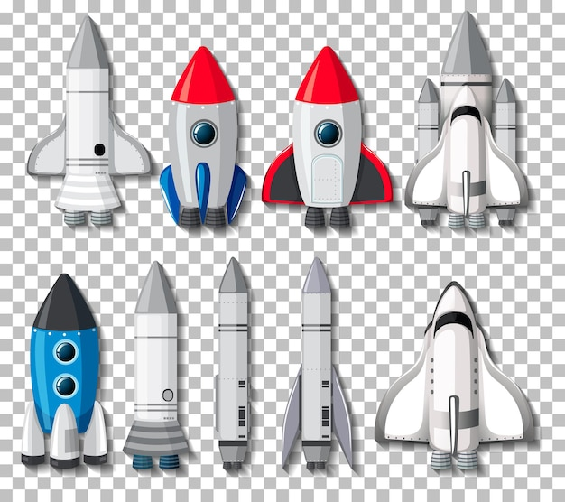 Set aus verschiedenen raketen und raumschiffen auf transparentem hintergrund