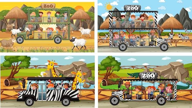 Set aus verschiedenen safari-szenen mit tieren und kinder-cartoon-charakter