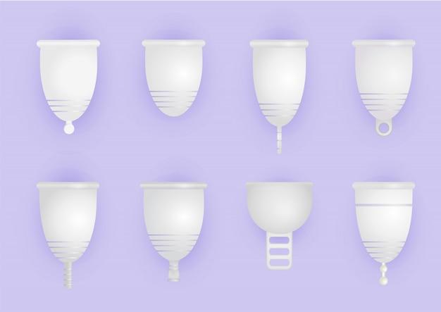 Set aus verschiedenen silikon-menstruationstassen. umweltfreundliches, waschbares intimprodukt. null abfall für die persönliche hygiene. kunststofffreies konzept. realistische darstellung der frauenhygiene.