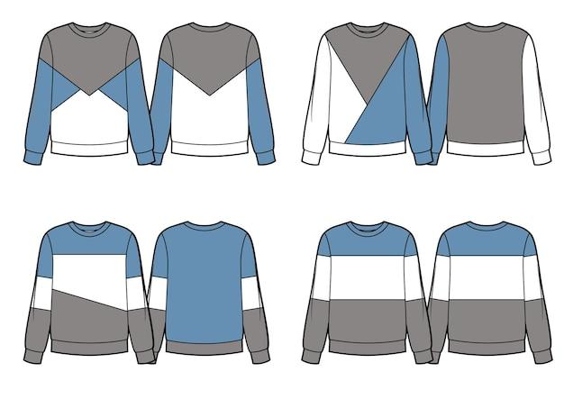 Set aus verschiedenen sweatshirt-designs blaugrau und weiß farbblöcke vektorskizzen