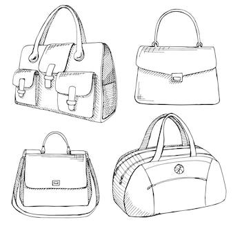 Set aus verschiedenen taschen, männern, frauen und unisex. abbildung im skizzenstil.