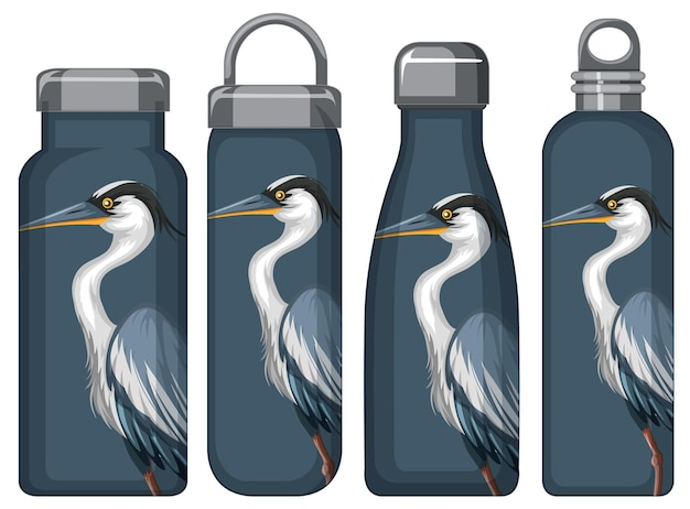 Set aus verschiedenen thermosflaschen mit blauem pelikanmuster