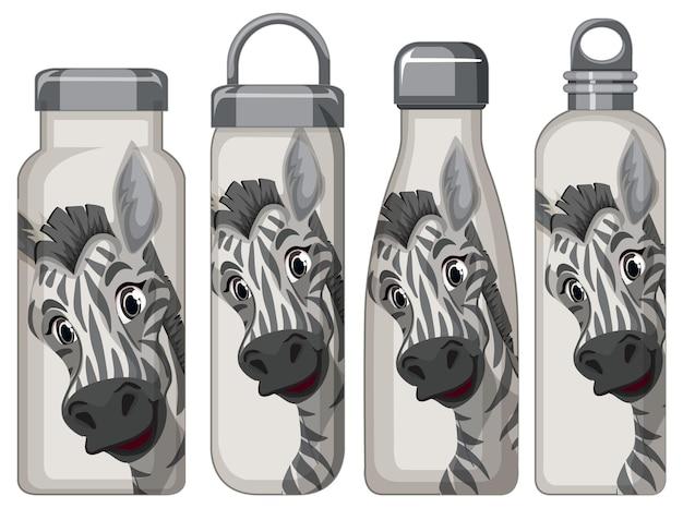 Set aus verschiedenen thermosflaschen mit zebramuster