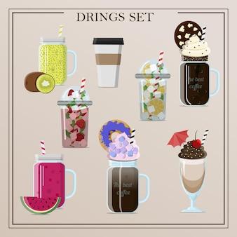 Set aus verschiedenen vektorgetränken cocktails kaffee smoothies tee milchshake limonade eiskaffee flach krank...