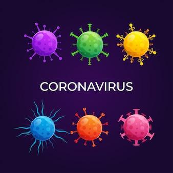 Set aus verschiedenen viren und bakterien prägt premium