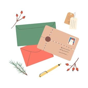 Set aus verschiedenen weihnachtsumschlägen mit postbriefmarken und postkartenpaketen